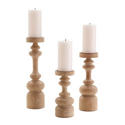 Ainsworth Wood Pillar Holders - Set of 3 - Satin-smooth natural oak with a subtle limed finish gives handsome old-world luster to the Ainsworth candlesticks.  This well-coordinated trio is designed for supporting small pillar candles, not tapers, so they have a balanced weight and a look of consequence that narrower spindle candlesticks don't quite accomplish.  The lathe-turned pillar candle holders pair nicely with other crafted home accessories � try them on a mantelpiece for flawless simplicity.