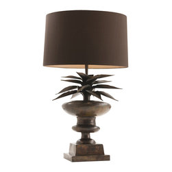 Arteriors - Agave Lamp - Sure, it's great in a margarita. But who knew agave would be great next to your sofa? With spiky leaves atop a classic urn shape, this lamp features a warm copper patina and a brown silk drum shade lined in rose bronze for elegant, succulent style.