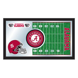 """Holland Bar Stool - Holland Bar Stool Alabama Football Mirror - Alabama Football Mirror belongs to College Collection by Holland Bar Stool The perfect way to show your school pride, our Football Mirror displays your school's symbols with a style that fits any setting.  With it's simple but elegant design, colors burst through the 1/8"""" thick glass and are highlighted by the mirrored accents.  Framed with a black, 1 1/4 wrapped wood frame with saw tooth hangers, this 15""""(H) x 26""""(W) mirror is ideal for your office, garage, or any room of the house.  Whether purchasing as a gift for a recent grad, sports superfan, or for yourself, you can take satisfaction knowing you're buying a mirror that is proudly Made in the USA by Holland Bar Stool Company, Holland, MI.   Mirror (1)"""
