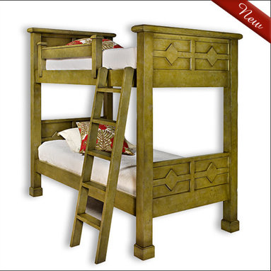 Liz Ann's Interior Design Boutique - The Kristina twin over twin bunk bed with decorative panels and moulding detail is of the highest construction quality and will transition nicely with most styles of decor.  Choose from a large selection of gorgeous finishes.  Shown in Sprout.  *More than one finish color is available at an additional charge.  Overall Dimensions: 46Wx81Hx85L.