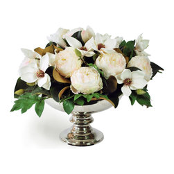 White Magnolia and Peony Glamour in Silver Vase -