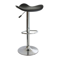 Buffalo Tools - AmeriHome Adjustable Height Bar Stool - Adjustable Height Bar Stool by AmeriHome The AmeriHome Adjustable Height Bar Stool adds a classic element to the kitchen, bar, game room, basement, or shop. The bar stool has a style reminiscent of the days of diners and drive-ins, and features a mirror-like polished chrome base and a black vinyl seat for a hint of classic vintage design.  This bar stool is designed with comfort in mind. With a large 18 inch wide, padded vinyl 360 degree swivel seat, a built in footrest, and an adjustable seat height of 23.25 to 31.5 inches. This stool is comfortable for kids and adults. Adjustable seat height from 23.25 to 31.5 in. 18 in., padded vinyl, 360 degree swivel seat 330 lbs. weight capacity Sold individually