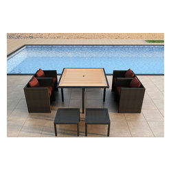 Arbor Cube 9-Piece Patio Dining Set, Henna Cushions