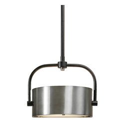 Uttermost - Uttermost 22029 Belding 1 Light Industrial Antiqued Brushed Aluminum Drum Pendan - Dark Chocolate Bronze Accented with Lightly Antiqued Brushed Aluminum Drum Shade with Frosted Glass Diffuser