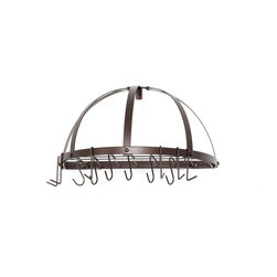 Pot Rack w/Grid & 12 Hooks, RTA, Oiled Bronze - Half-Round Oiled Bronze Pot Rack. This compact wall-mount pot rack adds extra storage and style to any kitchen. Made of sturdy Steel, the Oiled Bronze finish is durable & easy to maintain. Grid, 12 hooks and mounting hardware included. Assembly required.