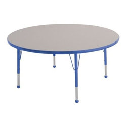 ECR4KIDS Round Adjustable Activity Table - High-quality construction and a classic round shape make this durable Early Childhood Resources Round Adjustable Activity Table perfect for any classroom or daycare setting and up to seven kids can sit at a time. It's made with thick recycled particleboard and is laminated on both sides which provides a stain-resistant and easy-to-clean surface. The corners are rounded for safety and the smooth edge banding is available in your choice of popular kid-friendly colors. This safe non-toxic activity table will not fade or discolor. The adjustable metal legs are powder-coated on top and chrome-plated on the bottom with matching ball glides for feet. The table can also be adjusted in height to fit children of a specific age or grade. The table adjusts 15-23 inches high or adjusts 19-30 inches high. Both table options carry a seven-year manufacturer's warranty. Chairs are sold separately. Adult assembly is required. Tabletop Details: Gray laminate tabletop is laminated on both sides and measures 1.125 inches thick. Table substructure is made from medium-density particleboard that is at least 90% recycled (minimum 4% post-consumer balance pre-consumer). Bright color banding is available in a variety of popular classroom colors. Color banding grips into the tabletop edges and is pinned in place every 6-8 inches with recessed nails to ensure that the banding remains firmly in place. Color banding is made from PET and contains no phthalates. Rounded corners for extra safety. EPP certified CARB compliant and may contribute to U.S. Green Building Council's LEED™ Credits MR 4.1 and 4.2. Leg Details: Durable powder-coated paint on upper leg. Color matches the banding. Chrome-plated adjustable lower leg insert. Legs are adjustable in 1-inch increments Threaded adjustment holes in lower leg keep legs securely in place. Color-coordinated polypropylene ball glides. Pre-installed brackets and pre-drilled screw holes make leg mount installation 