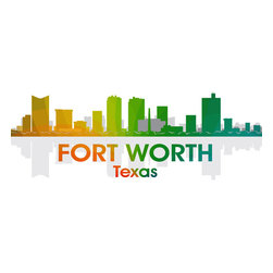 """Fort Worth Rainbow Spectrum Print - The most typically Texan of all Texas cities, Fort Worth began as a tiny outpost on a lonely frontier. Show off a little city pride with the digital and photographic layers on this mixed-media art that captures all the history of """"Where the West Begins."""""""