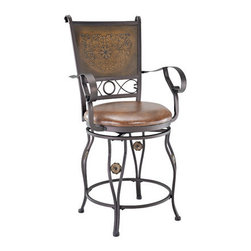 """Powell - Big and Tall Copper Stamped Back Bar Stool with Arms - The Big and Tall copper stamped back stool with arms is designed to suit people large and small. The plush upholstered seat is generous in size, providing optimal comfort. The stamped back adds visual interest and appeal to the stool, while the curved arms and legs keep the piece from becoming too masculine. Perfect for adding to a kitchen counter, island or high-top table. Features: -Big and Tall collection. -Bronze finish. -Swivel seat for comfort and ease of use. -Generous sized seat. -Designed for people large and small. -Great for a home bar or kitchen island. Dimensions: -Counter stool: 42"""" H x 21.5"""" W x 23"""" D, 31 lbs. -Bar stool: 51"""" H x 21.5"""" W x 23"""" D, 33 lbs."""