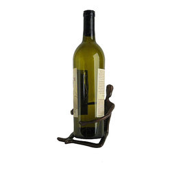 None - Cast Bronze 'Man Holding Bottle' Statue and Wine Holder - Beautiful statue is perfect for the wine aficionadoArt is handcrafted and casted using the sand casting methodStatue doubles as a wine bottle holder