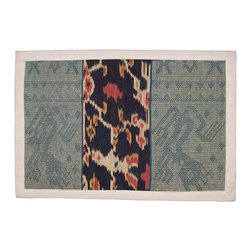 Indonesian Ikat Lumbar Pillow - This One of a Kind  Artisanaware Seconds Pillow Cover Displays a Wonderful, Hand Woven, Hand Dyed Ikat Textile From Indonesia. Due to a Small Flaw on the Back of the Cover, Price has Been Reduced Substantially.  See Other Companion Pillows.
