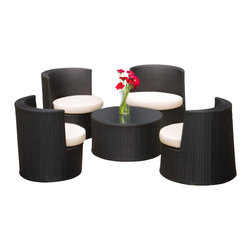 Great Deal Furniture - Sanchez Outdoor 5pc Black Outdoor Seating Set - The Sanchez Outdoor chair set is a fresh and a  modern set that brings sophistication to your porch, deck or patio. The set includes four rounded black wicker seats in two different sizes, complete with fabric cushions, designed to be breathable and water repellent for ultimate seating comfort. The round cocktail table is perfect for setting drinks and snacks. When not in use, this set can be stacked together to form an artistic piece, while freeing up space, a convenient feature for small spaces. With proper use, care and storage, this set will provide you with years of great outdoor seating in modern style. NOTE: Glass top is NOT included