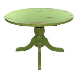 Fable Porch Furniture - Round Emerson Pedestal Dining Table, Kiwi-Outer Banks Coastal, 48 X 48 X 30 - Distressed Pedestal Dining Table