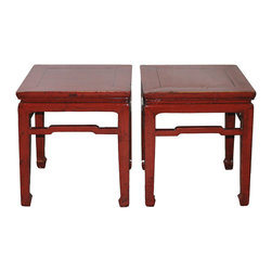 Red Ming Table - Red Ming-style elm tables with horse hoof-style feet and support bars. Priced individually, $1150 each.