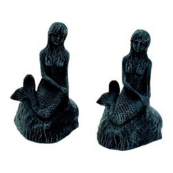 "Handcrafted Model Ships - Seaworn Cast Iron Mermaid Bookends 8"" - Beach House Living Room Ideas - These Seaworn Cast Iron Mermaid Bookends 8"" are the perfect addition for any beach themed home office. Handcrafted from cast iron, this seaworn mermaid is durable, and decorative. If you are looking for unique beach coastal decor, use this mermaid to show visitors your affinity for sea-life and beach decor."