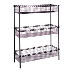Metro Shelving - Wire Storage Unit with Basket Shelves in Black - Imagine the infinite possibilities for storage and organization that you can have with this innovatively designed storage unit. Each of its three wire basket shelves come in an attractive black finish and provide air flow that discourages the growth of mold or mildew.