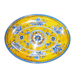 Frontgate - Benidorm Platter - Constructed of 100% heavyweight melamine that gives the look and feel of pottery. Ideal for outdoor or indoor entertaining, year-round. Dinner plate and salad plate feature a decorative scalloped edge. Dishwasher safe. Do not microwave. Shatterproof melamine makes the sunny Benidorm Collection ideal for your outdoor table setting or picnic. Named for the coastal resort town in Spain, Benidorm and its vibrant designs seem reminiscent of hand-painted Spanish pottery. The sunny motifs exude a cheerful vibe for alfresco dining. . . . . .