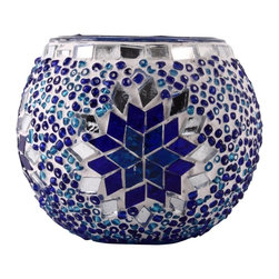 Art-Win Lighting CH11010 Handmade Mosaic Candle Holder, Blue - Handmade in Istanbul, Turkey. Hand-crafted item is produced with glass-on-glass technique. Tradition of centuries is now available for you. Fine handmade mosaic lamps that require years of experience and specialized craftsmanship are carefully manufactured by Art-Win Lighting.