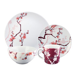 Ink Dish - Cherry Ink 16-piece Dinnerware Set by Paul Timman - Cherry blossoms will forever be in bloom with a set of these dishes. The design is based on a Japanese style of tattooing and evokes a painterly style that will never go out of fashion. The delicate design will have you dreaming of springtime with every meal.