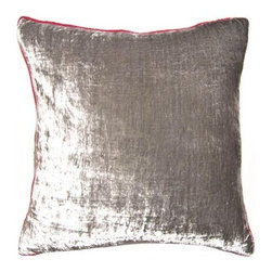 Squarefeathers - Chouchou Velvet Pillow - The Chouchou Collection is for every girl and woman that loves pink. The silver and pink pairing is both fun and sophisticated. It has a soft and pump feataher/down insert inclosed with a zipper. Like all of our products, this pillow is handmade, made to order exclusively in our studio right here in the USA.