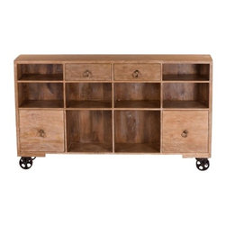 YOSEMITE HOME DECOR - Trolley Console - A fun and  functional cabinet for any room. A solid mango wood cabinet rests on four cast iron wheels. The light Ciena finished cabinet features color match painted distressed metal hardware. Four doors and eight cubbies allow for a variety of uses. Store books, albums, photos or a variety of family treasures. Perfect for the dining room, family room or any space in the home. Assembled, Made in India.  Item Dimension are 70inches Widht X 14inches Depth X 40inches Height.