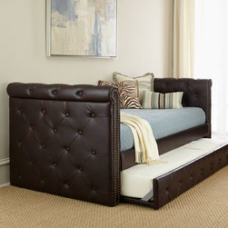 """Horchow - Raven Tufted Leather Daybed - BROWN - Raven Tufted Leather DaybedDetailsEXCLUSIVELY OURS.Handcrafted daybed.Hardwood frame.Bi-cast leather upholstery.Button tufting on outside panels and trundle front.Nailhead trim.Uses two twin-size mattresses (not included).89.5""""W x 43""""D x 36.5""""T.Imported.Boxed weight approximately 198 lbs. Please note that this item may require additional delivery and processing charges."""