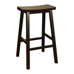 American Heritage - American Heritage Wood Saddle 29 Inch Barstool in Black - The wood saddle stool is a perfect choice for any room in the house. The heavy duty construction and scooped seat will provide many years of comfortable service. What's included: Barstool (1).