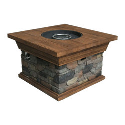 None - Tortuga Outdoor Yosemite Fire Pit - Enjoy the great outdoors and stay warm with this handsome Yosemite propane-fueled pit,featuring a natural faux wood and stone design. Crafted with an easy-open door for quick access to the propane tank,this firepit is ideal for backyard barbecues.