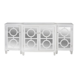 Worlds Away - Worlds Away 3-Piece White Lacquer and Mirror Top Buffet AVA WH - 3- Piece White Lacquer and Mirror Buffet. Inset Beveled Mirror Tops