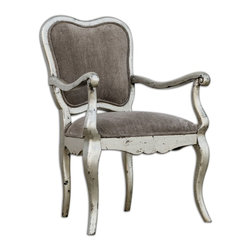 "Uttermost - Meresa Silver Accent Chair - Velvety plush in soft gray with welt trim, this antiqued silver leaf chair is gracefully carved in solid mango wood. Seat height is 20""."