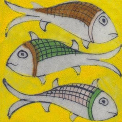 """Potteryville - Tiles 3x3"""", Three fish on yellow - Three fish on yellow tile from Jaipur, India. Unique, hand painted tiles for your kitchen or other tiling project. Tile is 3x3"""" in size."""