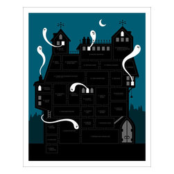 """Hybrid-Home - Limited Edition Print Haunted House - Boo! Now you can be spooky AND stylish with this limited edition """"Haunted House"""" print. Designed by Brian Flynn, the ghosts are all aflutter in this groovy decoration."""