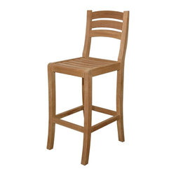 Anderson Teak - Mandalay Unfinished Ladder-Back Barstool - Teak wood construction. 17 in. L x 22.5 in. W x 45.5 in. H (30 lbs.). Seat height: 29 in.Mandalay Bar Chair is designed for elegant and comfort bar chair with a massive solid teak wood. Made with kiln-dried, grade A teak wood.