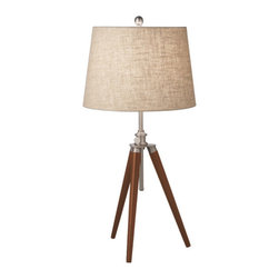 Extra Stance Table Lamp - Inspired by modern tripod lamps, the Extra Stance Table Lamp adds a contemporary appeal that is versatile enough for transitional spaces. Its dark-finished legs and fabric shade make it a handsome addition in the entry, living room, or study.