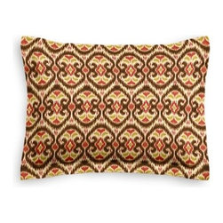 Brown & Red Ikat Custom Sham - The Simple Sham may be basic, but it won't be boring!  Layer these luxurious reversible shams in various styles for a bed you'll want to fall right into. We love it in this bold brown, red and curry yellow eclectic ikat on textured cream cotton. The spicy, bustling bazaar brought home to you!