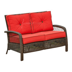 Forever Patio - Santa Monica Outdoor Rattan Loveseat, Ruby Cushions - The Forever Patio Santa Monica Wicker Outdoor Patio Loveseat with Red Outdoor Cushions (SKU FP-SM-LS-CP) is a fusion of traditional and modern styles. The luscious red cushions are made to withstand the harsh conditions of the outdoors. Each strand of the wicker is infused with color and UV inhibitors, allowing it to look beautiful for many years to come. The has luscious ruby red cushions have a bay brown trim that matches the frame�s cappuccino weave of environmentally friendly HDPE plastic. HDPE plastic resists damage from weathering conditions so your patio furniture will be looking bold and beautiful all year round.