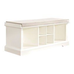 Crosley - Brennan Entryway Storage Bench, White - Organize your entryway with a sophisticated bench that's built to last. This cubby bench has several slots for storing shoes and other small items, and also makes for a comfortable seat. Included baskets allow for storage of scarves, gloves, and hats while adding a beautiful touch to your entryway.