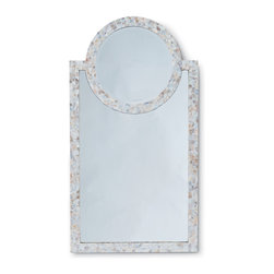 Kathy Kuo Home - Vilano Coastal Beach Mother of Pearl Mirror - Feast your eyes on this gorgeous, mother of pearl inlaid mirror. So pretty, in fact, we're including a disclaimer; your image may come secondary to the dazzling effects this hand inlaid, crushed shelled frame may have on you.