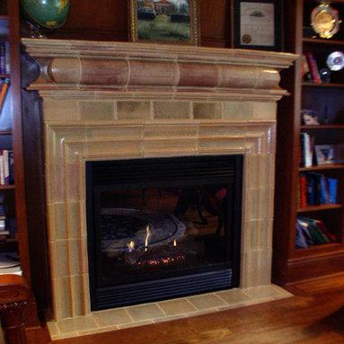 Stoneware fireplace mantle -