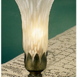 Meyda Tiffany - Meyda Tiffany 11259 Stained Glass / Tiffany Accent Table Lamp Lilies Co - *1 Light Mantelabra / Mottled Winter White ShadeOne Of The Most Popular Louis Comfort Tiffany Styled Lamps On The Market Today, Recreating His Famous Favorite Design From The Early 1900'sRequires 1 25w max Candelabra Base Bulb (Not Included)
