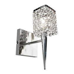 Bazz Lighting - Bazz Lighting M3020DC Glam Series Single-Light Small Wall Sconce, Finished in Ch - Bazz M3020DC Glam Series Single-Light Small Wall Sconce, Finished in Chrome with Glass CrystalsBazz M3020DC Features: