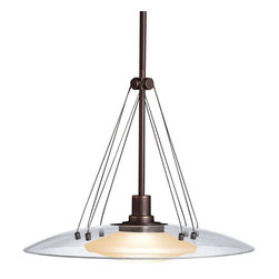 KICHLER - KICHLER Contemporary Pendant Light X-ZO7662 - From the Structures Collection, this Kichler Lighting pendant light hints at an architectural background with the Olde Bronze finish on the clean lines and cables that suspend the clear glass shade that hovers over a light umber glass shade.