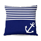 DiaNoche Designs - Pillow Woven Poplin by Organic Saturation - Navy Blue Love Anchor Nautical - Toss this decorative pillow on any bed, sofa or chair, and add personality to your chic and stylish decor. Lay your head against your new art and relax! Made of woven Poly-Poplin.  Includes a cushy supportive pillow insert, zipped inside. Dye Sublimation printing adheres the ink to the material for long life and durability. Double Sided Print, Machine Washable, Product may vary slightly from image.