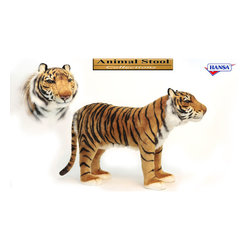 """Hansa Tiger Stool - Time to hop aboard this """"fun filled"""" Collection of ANIMALS WITH FUNCTIONALITY! One of Hansa's newest ranges, it features, """"amazingly realistic"""" animals that combine the beauty of SOFT SCULPTURE ART, with the function of seat and a footstool. Together they provide you with """"WOW"""" evoking home décor and conversation pieces, while also serving as comfortable """"seating"""" for children, designed to soothe, relax, and calm, the occasional """"beast"""" that exists in all of us . . . . . put your feet up, or take a seat and ENJOY this unique experience . . ."""