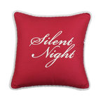 Chooty & Co. - Chooty and Co Circa Solid Lava Silent Night Embroidered Throw Pillow Multicolor - Shop for Pillows from Hayneedle.com! Elegant and meaningful the Chooty and Co Circa Solid Lava Silent Night Embroidered Throw Pillow showcases the reason for the season. A graceful addition to your sofa or guest bed this decorative pillow is made of 55% linen and 45% rayon in a rich red color. It features a winter white braided trim and embroidered Silent Night script. A thick hypoallergenic poly fill rounds it out nicely.About Chooty & Co.A lifelong dream of running a textile manufacturing business came to life in 2009 for Connie Garrett of Chooty & Co. This achievement was kicked off in September of '09 with the purchase of Blanket Barons well known for their imported soft as mink baby blankets and equally alluring adult coverlets. Chooty's busy manufacturing facility located in Council Bluffs Iowa utilizes a talented team to offer the blankets in many new fashion-forward patterns and solids. They've also added hundreds of Made in the USA textile products including accent pillows table linens shower curtains duvet sets window curtains and pet beds. Chooty & Co. operates on one simple principle: What is best for our customer is also best for our company.