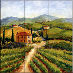 The Tile Mural Store (USA) - Tile Mural - Chianti I  - Kitchen Backsplash Ideas - This beautiful artwork by Joanne Margosian has been digitally reproduced for tiles and depicts an Italian country vineyard theme.    Our kitchen tile murals are perfect to use as part of your kitchen backsplash tile project. Add interest to your kitchen backsplash wall with a decorative tile mural. If you are remodeling your kitchen or building a new home, install a tile mural above your stove top or install a tile mural above your sink. Adding a decorative tile mural to your backsplash is a wonderful idea and will liven up the space behind your cooktop or sink.