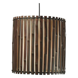 "Kenroy Home - Asian Grove 14"" Wide Dark Split Bamboo Pendant - Asian inspired this pendant light is natural and unadorned. Dark panels of bamboo surround an inner fabric shade for warm dimensional illumination. From the Grove Collection by Kenroy Home. Dark split bamboo panels. Inner fabric shade. Maximum 100 watt or equivalent bulb (not included). Includes one 6"" three 12"" downrods. 15"" high. 14"" wide.  Dark split bamboo panels.  Inner fabric shade.  Maximum 100 watt or equivalent bulb (not included).  Includes one 6"" three 12"" downrods.  15"" high.  14"" wide."