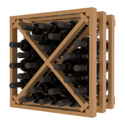Lattice Stacking X Wine Cube in Pine with Oak Stain + Satin Finish - Designed to stack one on top of the other for space-saving wine storage our stacking cubes are ideal for an expanding collection. Use as a stand alone rack in your kitchen or living space or pair with the 16-Bottle Cubicle Wine Rack and/or the Stemware Rack Cube for flexible storage.