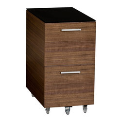 BDI - Sequel Tall File Pedestal-Walnut - The mobile Sequel Tall File Pedestal is mounted on locking wheels, which allows it to become the same height as the Sequel Desk thus adding to much desired desk top space. Two file drawers can be used for letter or legal sized files. Pick between 3 wood veneer color options.