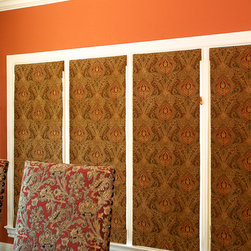 Willow Glen Home - Roman shades.  The pattern repeat matches across all four shades.