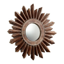 """Cyan Design - Traditional Excalibur 34 3/4"""" Round Large Sunburst Wall Mirror - Instantly enhance the decor with this stylish sunburst mirror. Constructed in walnut finished wood this wall mirror adds a distinctive rustic look. The sunburst pattern encases the round mirror in this bold design. Sunburst wall mirror. Wood construction. Walnut finish. Hang weight is 31 pounds. Glass only is 10"""" round 1/4"""" deep. 34 3/4"""" round. 2"""" deep. Horizontal hanger hardware included.   Sunburst wall mirror.  Wood construction.  Walnut finish.  Hang weight is 31 pounds.  Glass only is 10"""" round 1/4"""" deep.  34 3/4"""" round.  2"""" deep.  Horizontal hanger hardware included."""